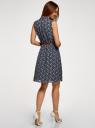 Платье из струящейся ткани с жабо oodji для женщины (синий), 21913018/36215/7912E