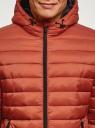 Куртка стеганая с капюшоном oodji для мужчины (оранжевый), 1B112009M/25278N/5500N