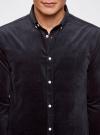 Рубашка slim из вельвета oodji #SECTION_NAME# (синий), 3L110218M/44424N/7900N - вид 4