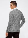 Пуловер вязаный с принтом oodji #SECTION_NAME# (серый), 4L212151M/44326N/2329F - вид 3