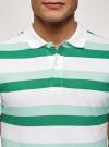 Поло полосатое из ткани пике oodji #SECTION_NAME# (зеленый), 5L412257M/44031N/1062S - вид 4