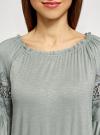 Блузка трикотажная с вышивкой на рукавах oodji #SECTION_NAME# (зеленый), 14207003/45201/6000N - вид 4