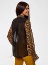 Блузка из комбинированных тканей с модными манжетами oodji #SECTION_NAME# (черный), 11411119/17288/2952F - вид 3