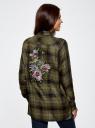 Блузка из вискозы с вышивкой на спине oodji #SECTION_NAME# (зеленый), 11411171/46974/6629C - вид 3