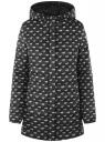 Куртка удлиненная с капюшоном oodji #SECTION_NAME# (черный), 10204058B/42257/2912O