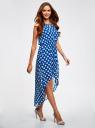 Платье из легкой ткани с асимметричным низом oodji для женщины (синий), 11910064-3B/35271/7512D