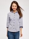 Блузка с контрастной отделкой и рукавом 3/4 oodji для женщины (синий), 13K03005-1/46440/1079O