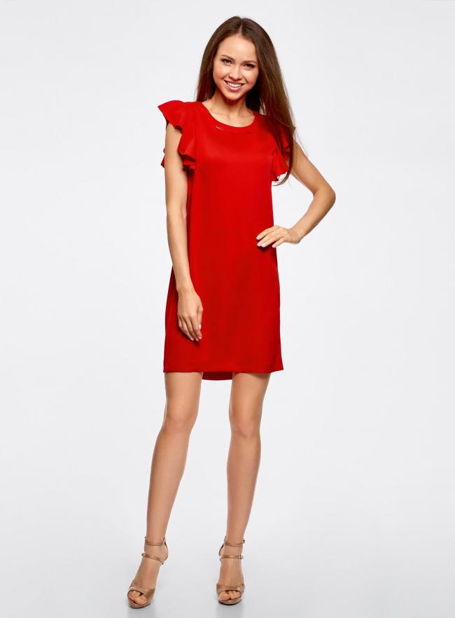 Платье с рукавами-крылышками и украшением на горловине oodji #SECTION_NAME# (красный), 21909002/42720/4500N
