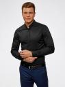 Рубашка приталенная с воротником-стойкой oodji #SECTION_NAME# (черный), 3L140115M/34146N/2900N - вид 2