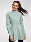 Рубашка удлиненная со скрытыми пуговицами oodji #SECTION_NAME# (зеленый), 13K00005/45202/6D10S - вид 2