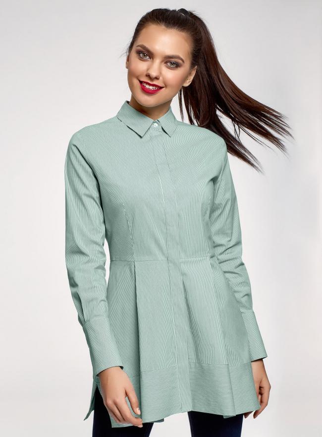 Рубашка удлиненная со скрытыми пуговицами oodji #SECTION_NAME# (зеленый), 13K00005/45202/6D10S