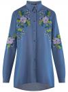 Рубашка джинсовая с вышивкой oodji #SECTION_NAME# (синий), 16A09009/42706/7900P