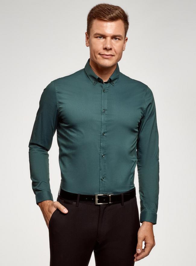 Рубашка базовая приталенная oodji #SECTION_NAME# (зеленый), 3B140002M/34146N/6200N
