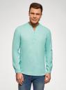 Рубашка льняная без воротника oodji #SECTION_NAME# (бирюзовый), 3B320002M/21155N/7303N - вид 2