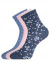 Комплект из трех пар хлопковых носков oodji #SECTION_NAME# (разноцветный), 57102807T3/47613/20 - вид 2