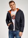 Куртка утепленная с капюшоном oodji #SECTION_NAME# (синий), 1L512022M/44334N/7900N - вид 2