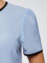 Блузка с коротким рукавом и контрастной отделкой oodji для женщины (синий), 11401254/42405/7029B