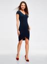 Платье с V-образным вырезом и асимметричным низом oodji #SECTION_NAME# (синий), 14001208/22132/7900N - вид 6