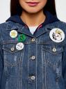Куртка джинсовая со значками oodji #SECTION_NAME# (синий), 11109031/46654/7900W - вид 4