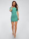 Платье прилегающего силуэта в рубчик oodji #SECTION_NAME# (зеленый), 14011012/45210/6910S - вид 2