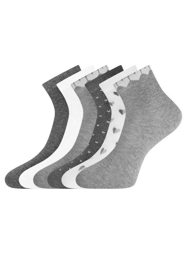 Комплект укороченных носков (6 пар) oodji для женщины (разноцветный), 57102418T6/47469/64
