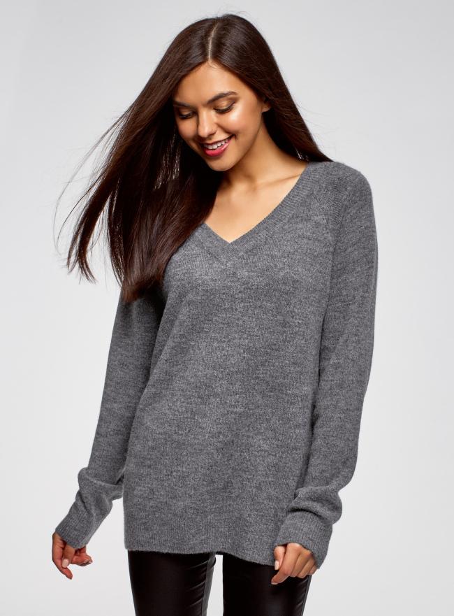 Пуловер удлиненный с V-образным вырезом oodji для женщины (серый), 63807333/48517/7400M