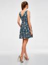 Платье принтованное с бантом на спине oodji #SECTION_NAME# (синий), 11900181-2/35271/7912F - вид 3