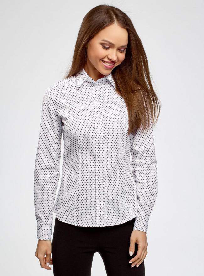 Рубашка приталенная принтованная oodji #SECTION_NAME# (белый), 21402212/14885/1045G