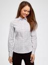 Рубашка приталенная принтованная oodji #SECTION_NAME# (белый), 21402212/14885/1045G - вид 2