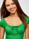 Платье хлопковое со сборками на груди oodji для женщины (зеленый), 11902047-2B/14885/6A00N