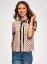 Блузка с коротким рукавом и контрастной отделкой oodji #SECTION_NAME# (бежевый), 11401254/42405/3329A - вид 2