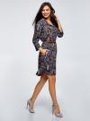 Платье вискозное с ремнем oodji для женщины (синий), 11900180B/48458/7919A - вид 6