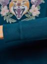 Свитшот хлопковый с принтом oodji для женщины (бирюзовый), 14801045-15/48015/7357P