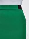 Юбка короткая с отделкой из искусственной кожи oodji #SECTION_NAME# (зеленый), 11601179-10/46415/6E00N - вид 4