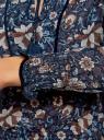 Блузка принтованная с кисточками и резинками oodji #SECTION_NAME# (синий), 21411107/17358/7933F - вид 5