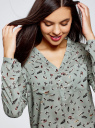 Блузка принтованная из вискозы oodji для женщины (зеленый), 11411049-1/42127/6619A