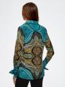 Блузка свободного силуэта с декоративными отстрочками на груди oodji #SECTION_NAME# (бирюзовый), 21411110/42549/7333E - вид 3