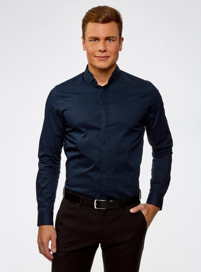 Рубашка приталенная с воротником-стойкой oodji #SECTION_NAME# (синий), 3L140115M/34146N/7900N