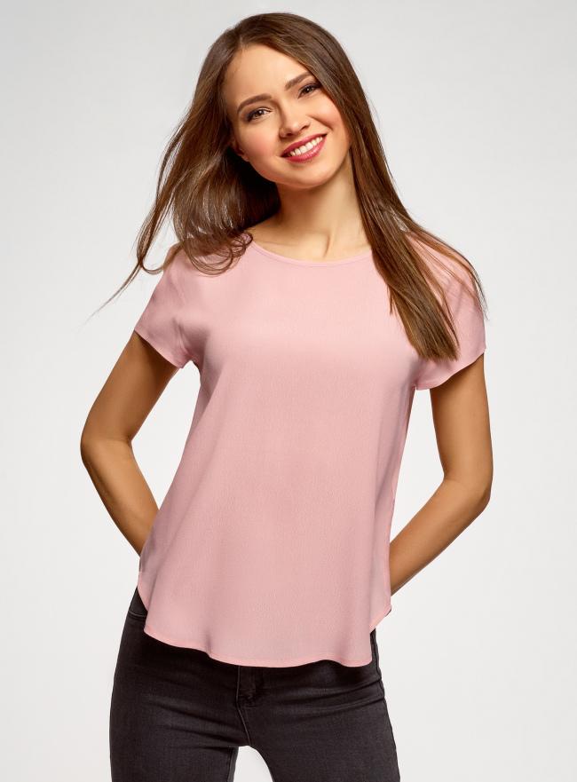Блузка свободного силуэта с вырезом-капелькой на спине oodji для женщины (розовый), 11411138-1B/43281/4002N