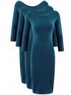 Комплект платьев с вырезом-лодочкой (3 штуки) oodji #SECTION_NAME# (синий), 14017001T3/47420/7901N
