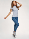Водолазка хлопковая с коротким рукавом oodji для женщины (синий), 15E11011-3/48037/7012P