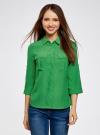 Блузка из струящейся ткани с регулировкой длины рукава oodji #SECTION_NAME# (зеленый), 11403225-1B/45227/6A00N - вид 2