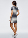 Платье A-образного силуэта с круглым вырезом oodji #SECTION_NAME# (синий), 14001201/48002/7912S - вид 3