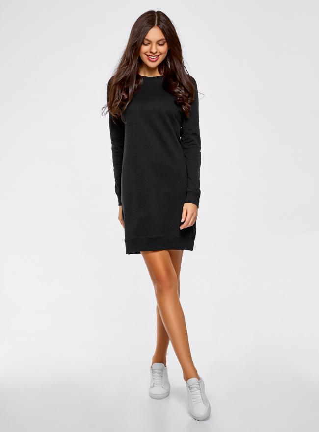 Платье в спортивном стиле базовое oodji для женщины (черный), 14001199B/46919/2900N