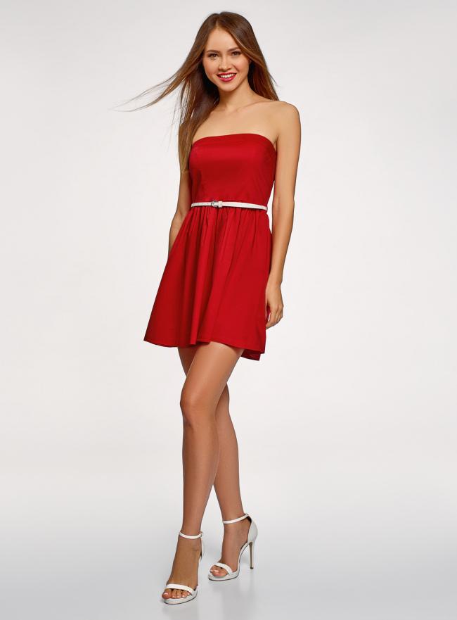 Платье-бандо из хлопка oodji для женщины (красный), 11902101-6B/14885/4501N