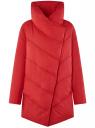 Куртка стеганая с объемным воротником oodji #SECTION_NAME# (красный), 10200079/32754/4500N