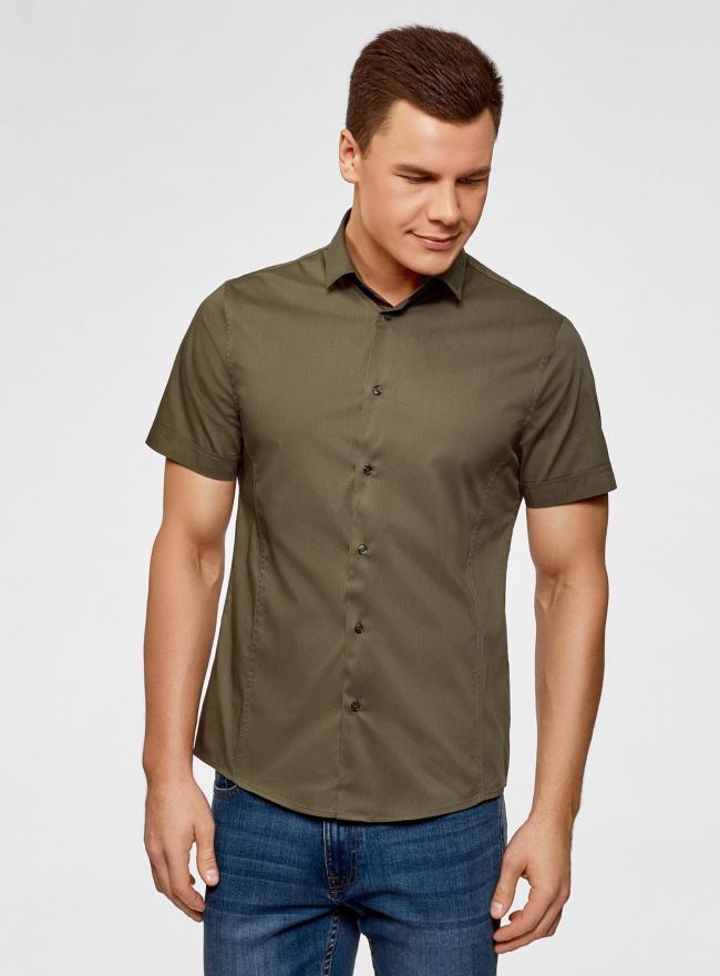 Рубашка базовая с коротким рукавом oodji для мужчины (зеленый), 3B240000M/34146N/6600N