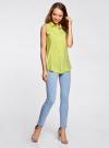 Топ вискозный с нагрудным карманом oodji для женщины (зеленый), 11411108B/26346/6A00N - вид 6