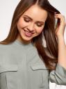 Блузка вискозная с нагрудными карманами oodji #SECTION_NAME# (серый), 11403225-7B/42540/2300N - вид 4
