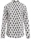 Блузка принтованная из вискозы с воротником-стойкой oodji #SECTION_NAME# (слоновая кость), 21411063-1/26346/1275E